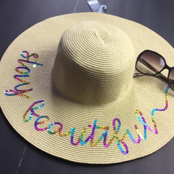 8ca0339a67 NWT Stay Beautiful Rainbow Floppy Beach Sun Hat